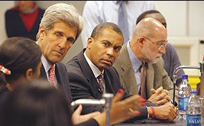 Assoc. Dean Campbell with Senator Kerry and future governor Patrick, September 2006
